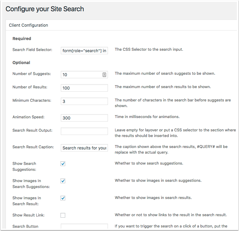 Site Search 360 Configuration Screen