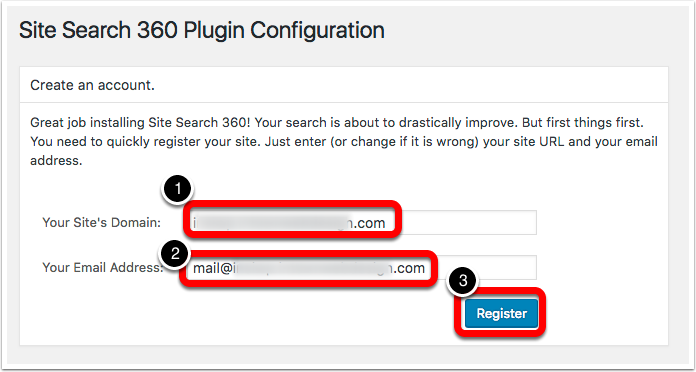 create account site search 360 wordpress plugin