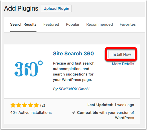 SiteSearch360 Plugin Installer