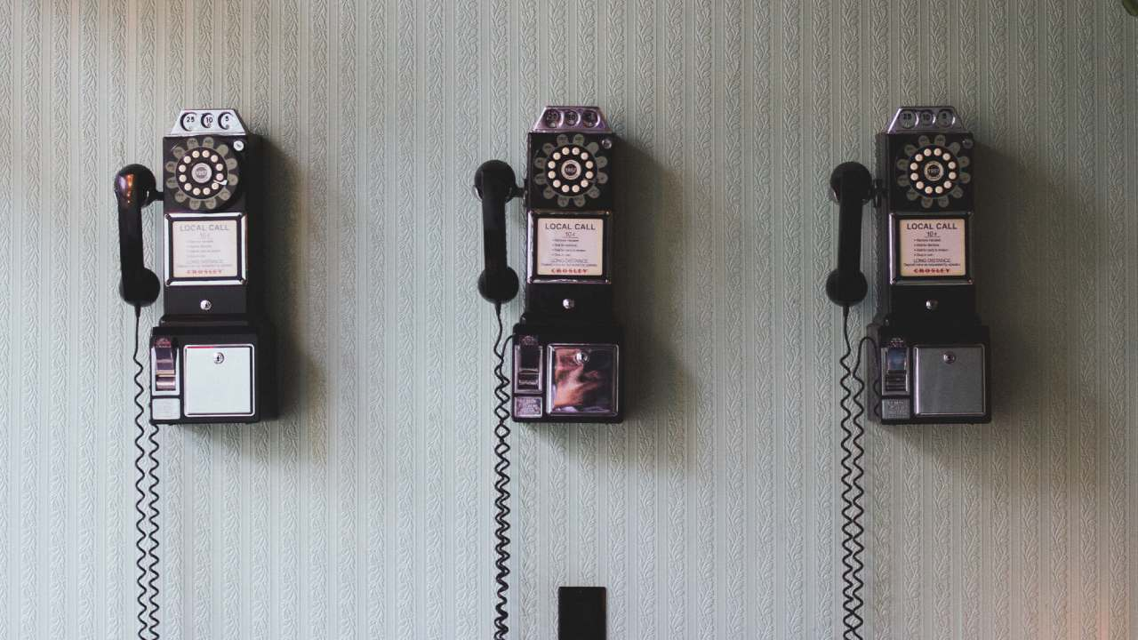 Old Phones on Wall