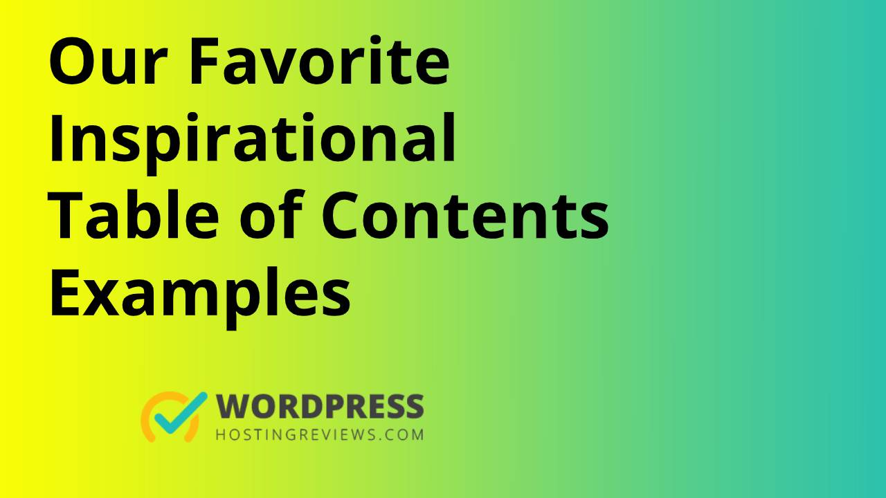 Best Table Of Content Examples