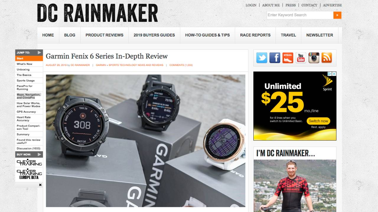 DC Rainmaker Top of Review Page
