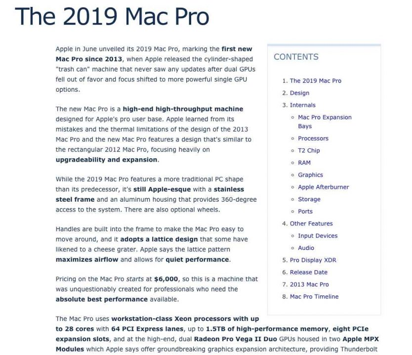 Mac Pro Table of Contents Post