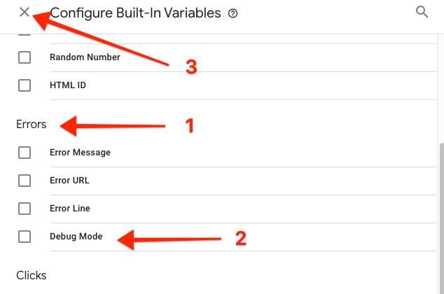 select-debug variable in Google Tag Manager
