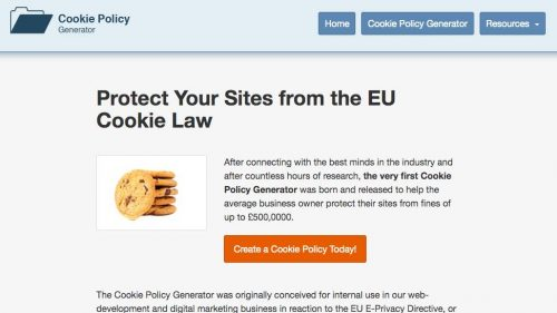 cookie policy generator homepage