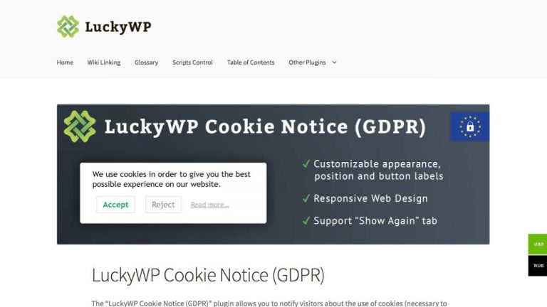 lucky wp cookie popup plugin