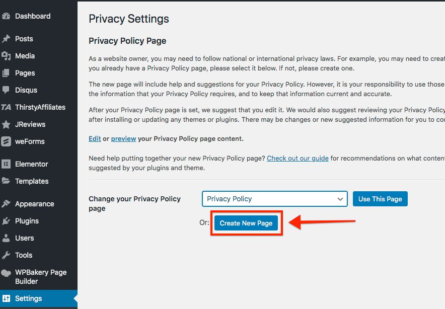 Click privacy policy select create new page