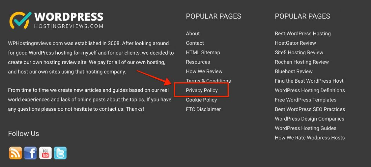 WP Hosting Reviews Privacy Policy Link in Footer